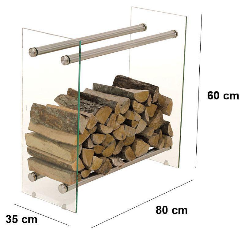 kaminholzregal freistehend breite 80 cm edelstahl glas cl. Black Bedroom Furniture Sets. Home Design Ideas