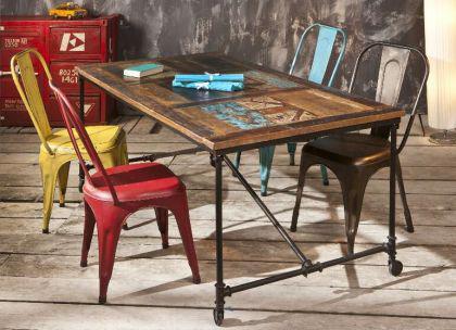 shabby chic tisch rustikal esstisch metall rostig. Black Bedroom Furniture Sets. Home Design Ideas