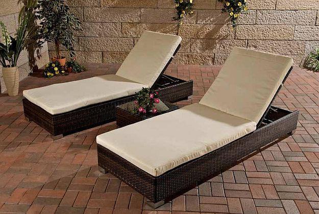 3 tlg set 2x liege tisch rattan 3 farben cl sola kaufen. Black Bedroom Furniture Sets. Home Design Ideas
