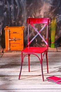 Shabby chic 2 Stück Stuhl rustikal rot blau Metall Bisbai