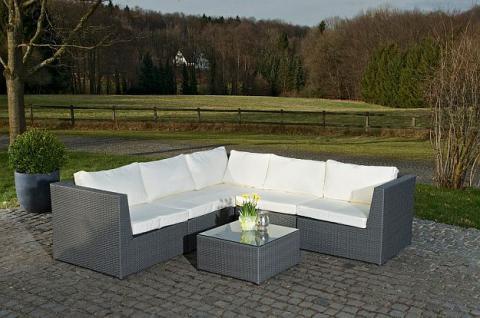 6-tlg Gartenmöbel Lounge 5 Farben Rattan Sofa Tisch Auflagen CL-Boccia