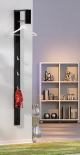 Garderobe hochglanz schwarz weiß 3 Haken 1 Kleiderstange Cessy