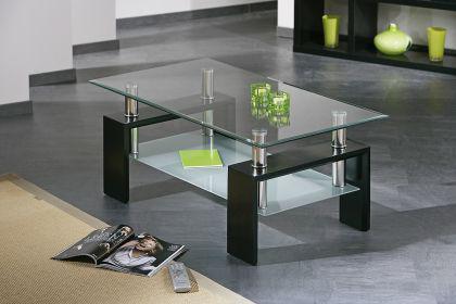 Glastisch Couchtisch schwarz chrom 2 Glasplatten Dani