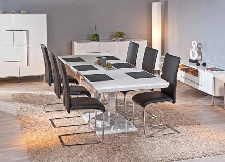 Tisch Esstisch ausziehbar Hochglanz weiß Chrom Errision