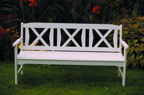 Bank 3-Sitzer Robinie massiv natur weiß AW-Fiore-3 - Vorschau 1