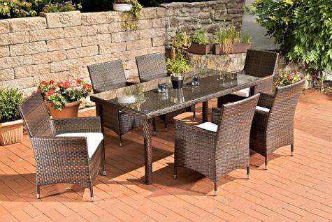 7-tlg Sitzgruppe Gartenmöbel Lounge Rattan 3 Farben CL-Filia