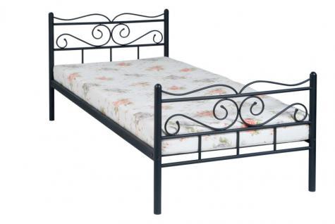 Bett Metallbett Lattenrost weiß schwarz R-Janett - Vorschau 1