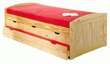Bett 2 Größen inkl. Lattenrost Massivholz Kiefer ausziehbar Morsela