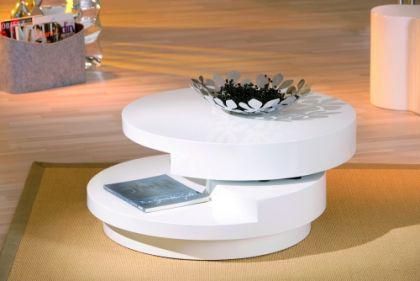 couchtisch beistelltisch rund 2 ebenen drehbar hochglanz wei rotoni kaufen bei eh online shop. Black Bedroom Furniture Sets. Home Design Ideas
