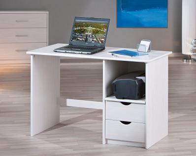 Schreibtisch Computertisch 2 Schubladen Massivholz Kiefer weiß Sophie-W
