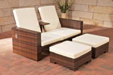 3-tlg. Set Gartenmöbel 2er Sofa Lounge Hocker Rattan 2 Farben CL-Rubio