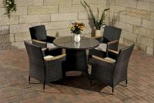 5-tlg Sitzgruppe Lounge Gartenmöbel Teak Rattan schwarz CL-Santo