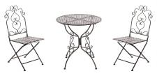 3-tlg. Sitzgruppe Gartenmöbel Metall 3 Farben CL-Antique