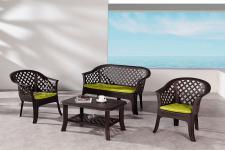 4-tlg. Sitzgruppe Kissen Gartenmöbel Lounge 3 Farben BF-Alanya