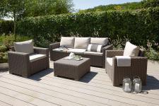 4-tlg Lounge Sitzgruppe Gartenmöbel Auflagen 2 Farben BF-Miami