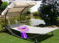 Sonnenliege 2 Größen Kopfkissen Sonnendach LC-Relax