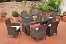 Gartenmöbel Sitzgruppe 7-tlg. 6 Kissen Rattan 2 Farben CL-Alisa