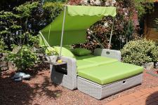 2er Sofa Lounge Hocker Kissen Sonnendach 2 Farben LC-Sundiva