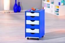 Rollcontainer Massivholz weiß pink oder weiß blau Bob/Pein