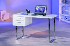 Schreibtisch Metall hochglanz weiß Chic