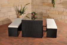 3-tlg. Gartenmöbel Sitzgruppe Tisch 2x Bank Auflagen Rattan 3 Farben CL-Coco
