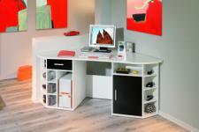 Schreibtisch weiß schwarz Fabian