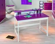 Schreibtisch Kinderschreibtisch Massivholz weiß petrol oder weiß magenta