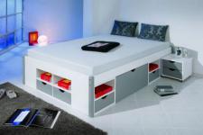 Bett Doppelbett zwei Größen 2 Kommoden 8 Schubladen Massivholz weiß grau Makis