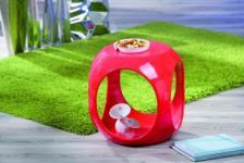 Beistelltisch oder Hocker Würfel Form 6 Hochglanz Farben Nina