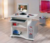 Schreibtisch Computertisch 4 Rollen Tastaturauszug weiß Parola