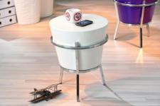Beistelltisch oder Hocker Fiberglas Trommel-Form 3 hochglanz Farben Relaxus