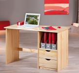 Schreibtisch 2 Schubladen Massivholz Kiefer natur Sophie-N