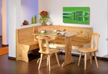 Esszimmer Eckbankgruppe Landhausstil 4tlg. Eckbank Tisch 2 Stühle Massivholz natur Tessin
