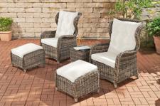 5-tlg Sitzgruppe 2x Sessel 2x Hocker Tisch Gartenmöbel Rattan meliert CL-Tabea