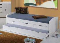 Bett Kinderbett ausziehbar 2. Schlafmöglichkeit Massivholz weiß 2 Größen Urmel
