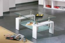 Glastisch Couchtisch 2 Glasplatten Chrom 3 Farben Allvi