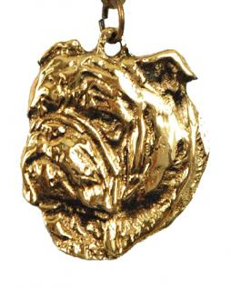 englische Bulldogge Schlüsselanhänger Messing