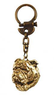 englische Bulldogge Schlüsselanhänger Messing - Vorschau 2