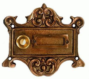 Klingel Jugendstil Klingelplatte Bronze - Vorschau