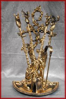 Luxus Kaminbesteck Barock Jugendstil gold alt Messing - Vorschau 1