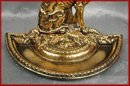 Luxus Kaminbesteck Barock Jugendstil gold alt Messing - Vorschau 3