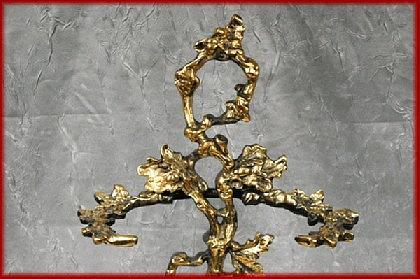 Luxus Kaminbesteck Barock Jugendstil gold alt Messing - Vorschau 5
