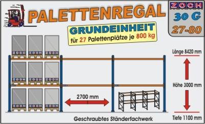 Palettenregal Regal Schwerlastregal 30G27-80