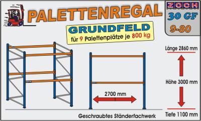 Palettenregal Regal Schwerlastregal 30G9-80