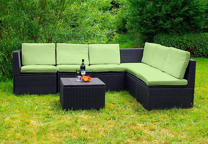 gartenm bel 7tlg set sitzgruppe poly rattan lounge garten garnitur couch gr n kaufen bei belan. Black Bedroom Furniture Sets. Home Design Ideas