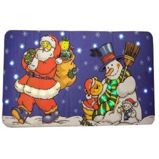 LED Fußmatte 60x37cm Weihnachtsmann + Schneemann F-H-S 09182