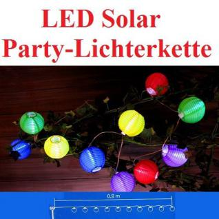 Solar LED Party-Lichterkette 10er Lampions bunt JFS040