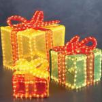 3D Lichtschlauch Silhouette Geschenkwürfel bunt Konstsmide 2214-500