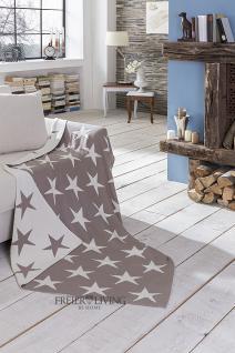 Kuscheldecke Star Sterne Wolldecke grau Wendedecke Landhausstil - Vorschau 1