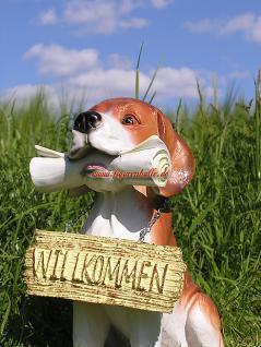 Beagel Tierfigur Hund mit Zeitung Figur Haustür - Vorschau 2